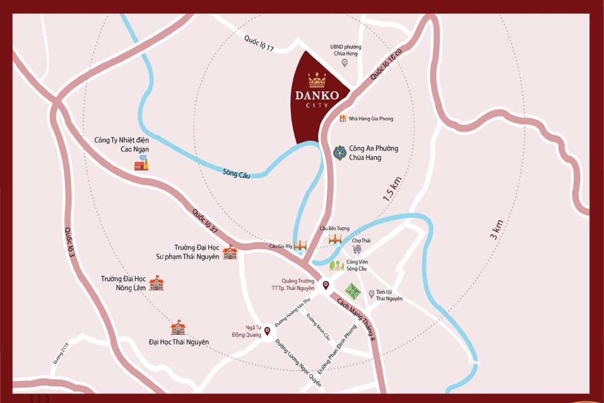 Vị trí quy hoạch khu đô thị Danco City Thái Nguyên