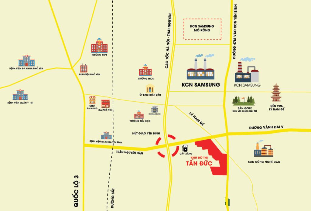 Vị trí khu đô thị Tân Đức JSC