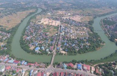 Thành phố Thái Nguyên bên sông Cầu.